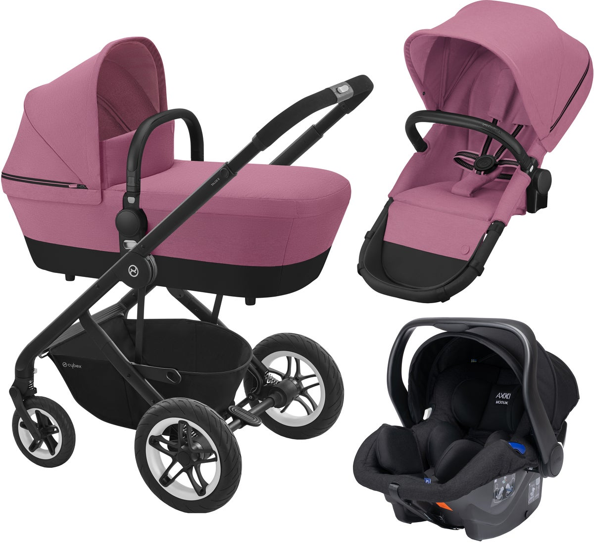 Cybex Talos S 2-in-1 Duovagn inkl. Axkid Modukid Babyskydd, Magnolia Pink
