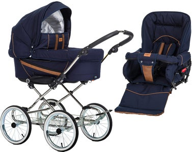 Emmaljunga Edge Duo De Luxe Duovagn, Chrome/Outdoor Navy