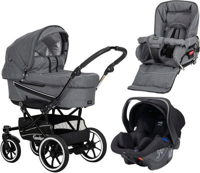 Emmaljunga Edge Duo S Duovagn 2021 inkl. Modukid Babyskydd, Lounge Grey