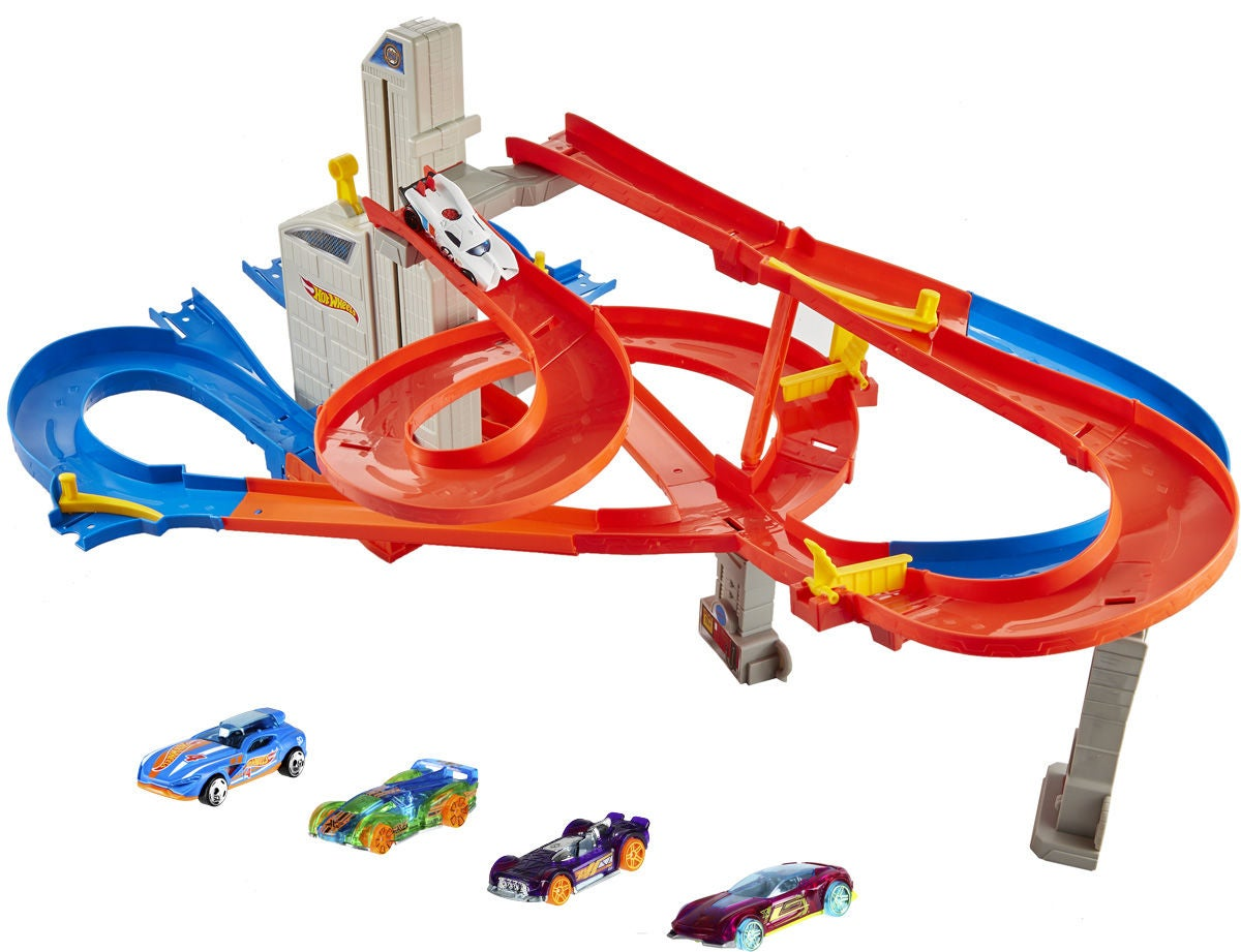 Hot Wheels Auto-Lift Expressway Bilbana Med 5 Bilar