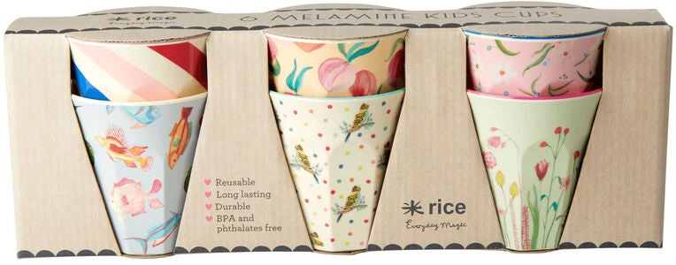 Rice Mugg Melamin Liten Choose Happy 6-pack, Rosa/Blå