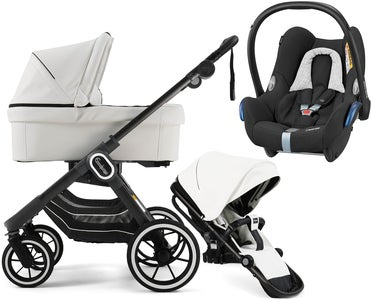 Emmaljunga NXT90 ERGO Duovagn 2021 inkl. Maxi-Cosi CabrioFix, Leatherette White