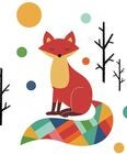 RoomMates Wallstickers Rainbow Fox