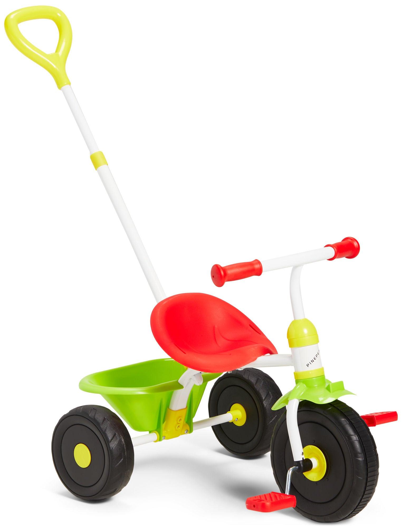Pinepeak Trehjuling Med Handtag, Röd/Grön