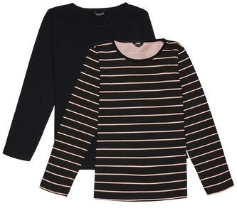 Luca & Lola Fanny Topp 2-pack, Black/Stripes