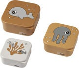 Done by Deer Snackbox 3-Pack Sea Friends, Mustard/Grey