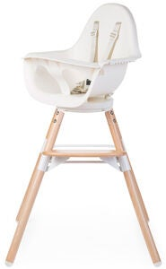 Childhome Evolu One 80° Matstol 2-i-1 med Bygel, Natural White