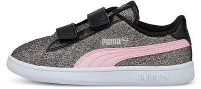 Puma Smash V2 Glitz Glam V PS Sneaker, Black/Pink Lady