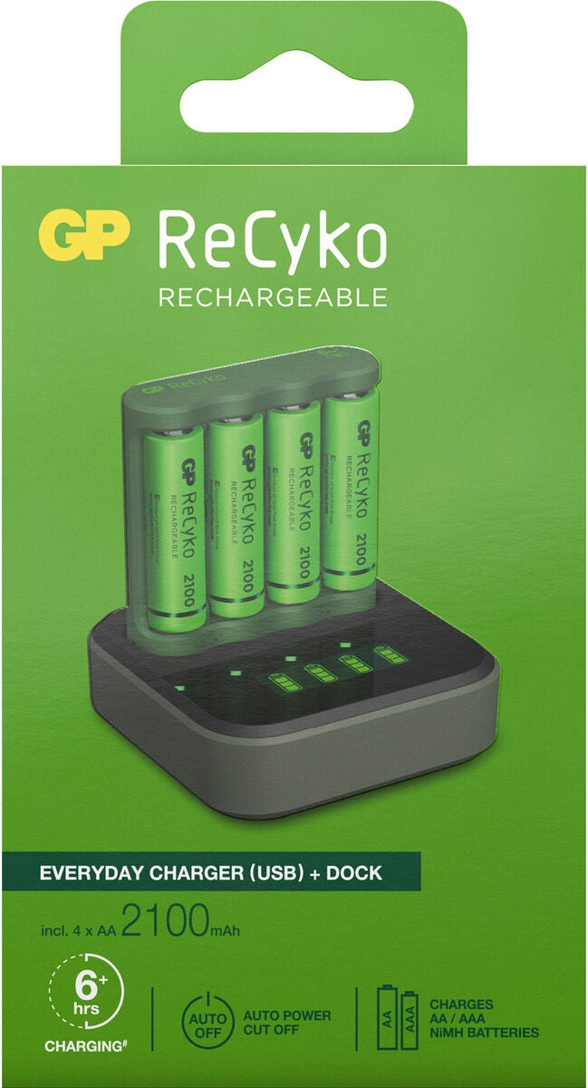 GP Batterier ReCyko B421 Everyday Batteriladdare USB med laddstation D451