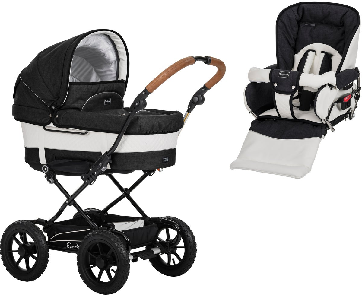 Emmaljunga Mondial de Luxe 4 Duovagn AIR 2021, Black Outdoor