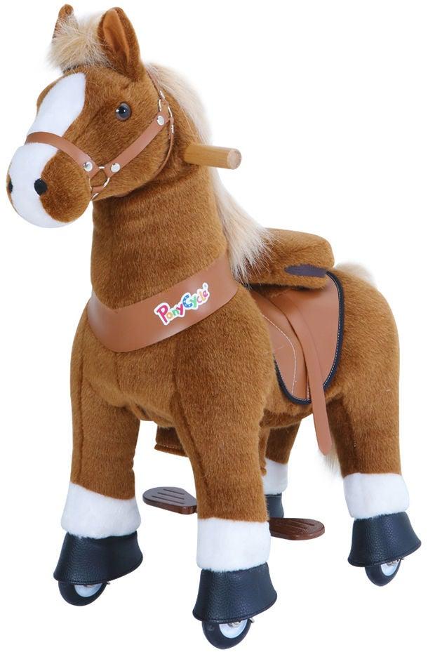 PonyCycle Ride-On Häst, Brun/Vit