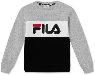 FILA Kids Night Blocked Crew Tröja, Light Grey Melange