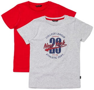 Luca & Lola Riccione T-Shirt 2-pack, Grey/Red