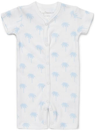 Tiny Treasure Summer Jumpsuit 2-Pack, White/Palm