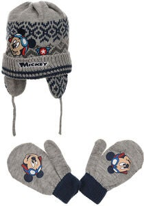 Disney Musse Pigg Set Mössa & Vante, Light Grey