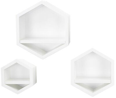 Alice & Fox Bokhylla Hexagon 3-pack, Vit