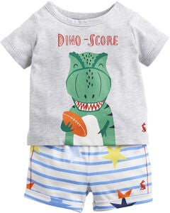 Tom Joule T-Shirt & Shorts, Grey Dino Star Stripe