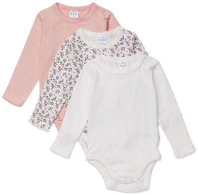 Luca & Lola Sonnet Body 3-pack, Pink Flowers