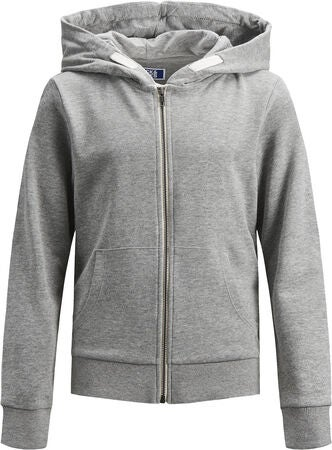 Jack & Jones Holmen Zip Hoodie, Light Grey Melange