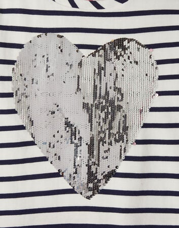 Tom Joule Lucy Klänning, Navy Stripe Sequin Heart