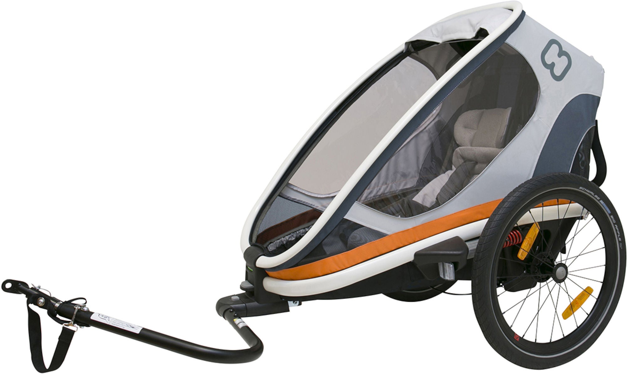 Hamax Outback One Cykelvagn 2-in-1, White/Grey/Orange