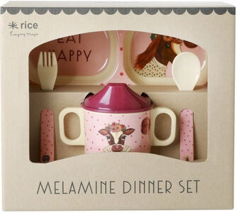 Rice Melaminset Farm Animals 4 pcs, Pink