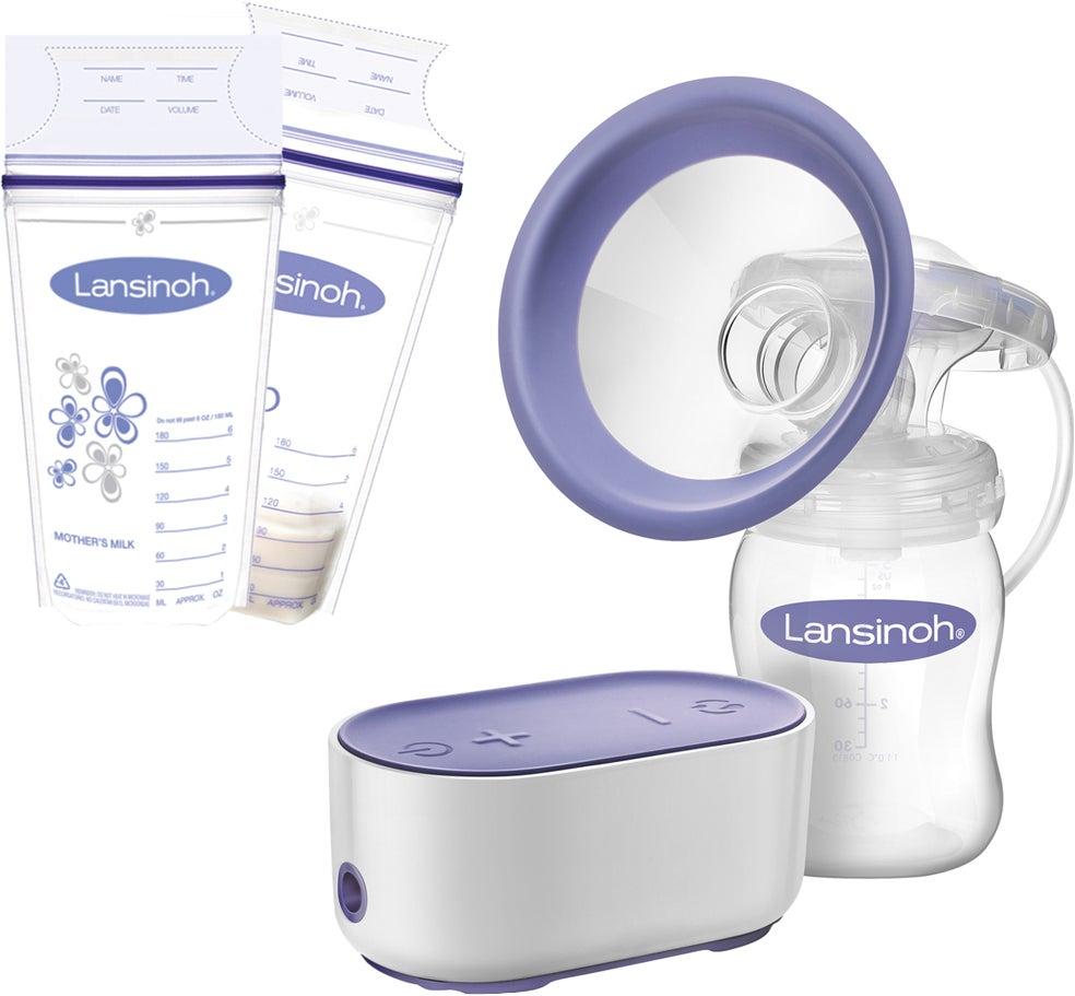 Lansinoh Single Elektrisk Bröstpump inkl. Bröstmjölkspåsar 50 st