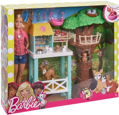 Barbie Rräddningscenter Docka Med Djur