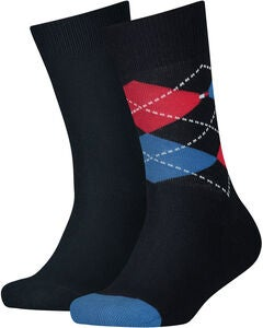 Tommy Hilfiger Original Argyle Strumpa 2-Pack, Midnight Blue