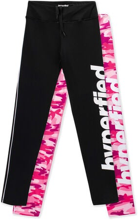Hyperfied Track Tights 2-pack, Black/Camo Pink