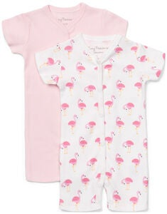 Tiny Treasure Summer Jumpsuit 2-Pack, White/Flamingo