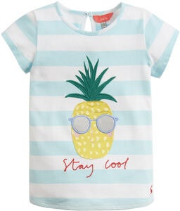 Tom Joule Applique T-Shirt, Aqua Stripe Pineapple