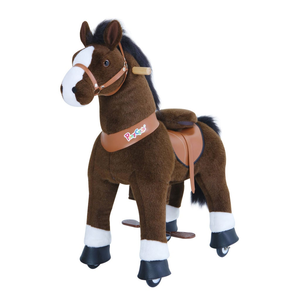 PonyCycle Ride-On Häst Stor, Mörkbrun/Vit