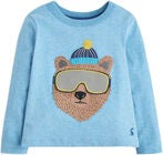 Tom Joule Applique Novelty T-Shirt Marl Bear, Blue