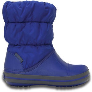 Crocs Kids Winter Puff Boot, Cerulean Blue/Light Grey