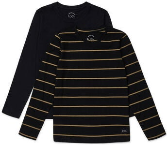 Luca & Lola Abel Långärmad T-Shirt 2-pack, Black/Stripes
