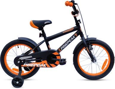Pinepeak Barncykel 16 tum Aiden, Svart/Orange
