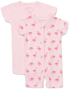 Tiny Treasure Summer Jumpsuit 2-Pack, Pink/Flamingo