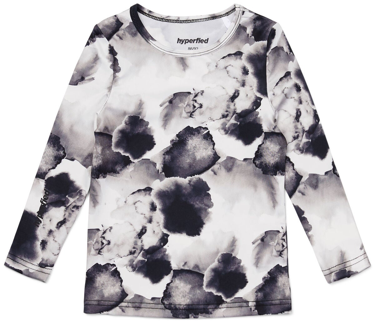 Hyperfied Long Sleeve Logo Top, Black/Grey Watercolor