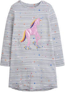 Tom Joule Applique Klänning, Navy Stripe Unicorn