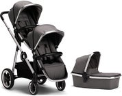 Beemoo Twin Travel+ 2019 Syskonvagn, Dark Grey + Liggdel