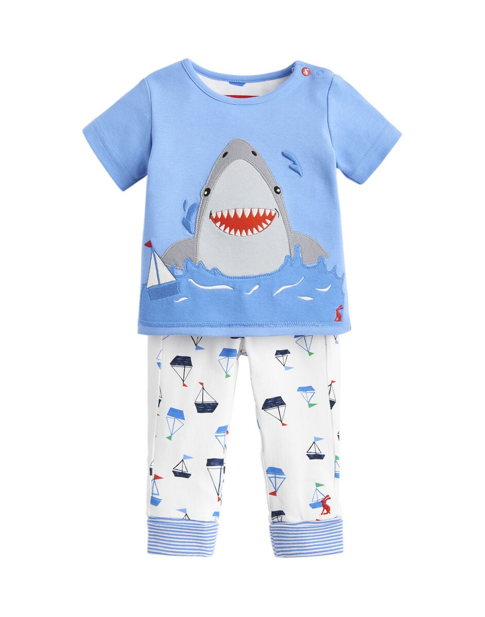 Tom Joule Topp & Byxa Set, Blue White Shark