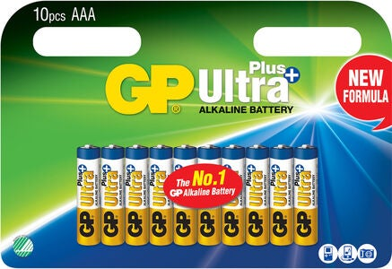 GP Batterier Ultra Plus Alkaline AAA LR03 10-pack