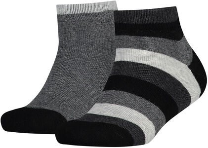 Tommy Hilfiger Basic Stripe Quarter Strumpa 2-Pack, Black