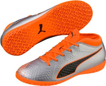 Puma ONE 4 Syn IT Fotbollsskor JR, Silver/Orange