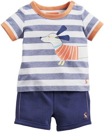 Tom Joule T-Shirt & Shorts, Navy Sausage Dog Stripe