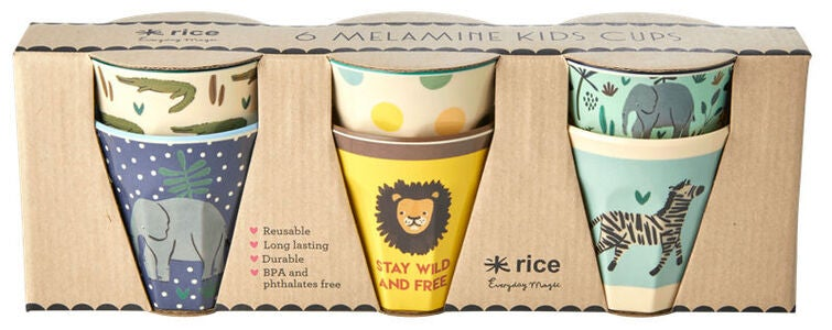 Rice Mugg Melamin Liten Jungle Print 6-pack, Blue