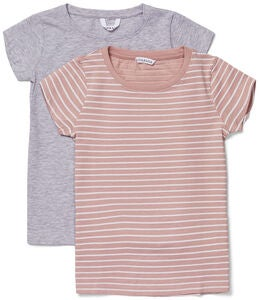 Luca & Lola Fanny Topp 2-pack, Grey Melange/Stripes