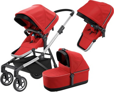 Thule Sleek Syskonvagn Inkl. Liggdel, Energy Red