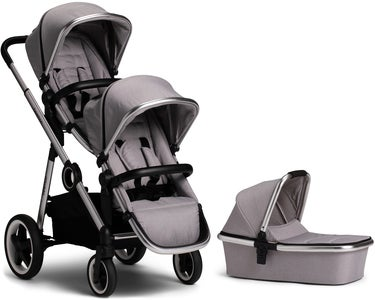 Beemoo Twin Travel+ 2019 Syskonvagn, Light Grey + Liggdel